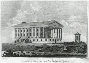 State Capitol.  Lawrence Sully. Digital reproduction of wood engraving. Published in Virginia & North Carolina Almanack 1802.