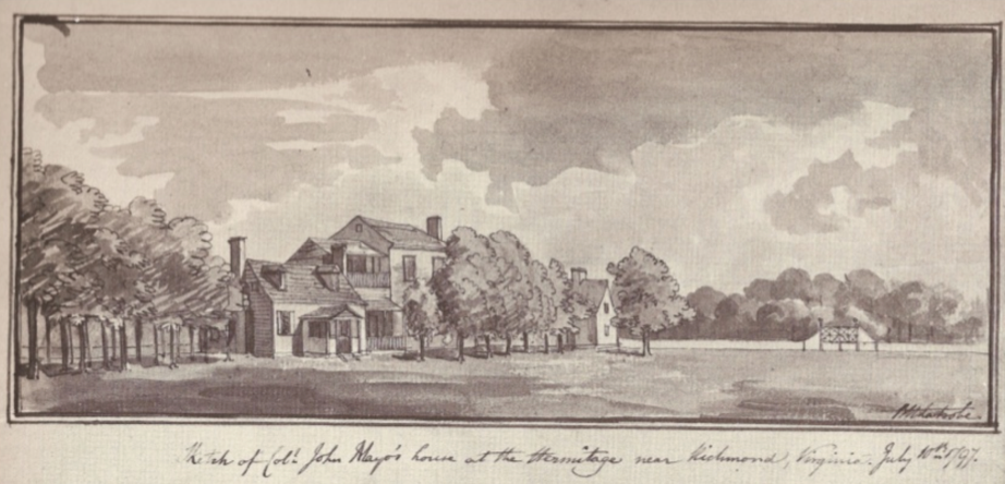 This Latrobe drawing from 1797 form Maryland Historical Society shows the home on the Scott Family Estate called Hermitage that where Scott's Addition is today.